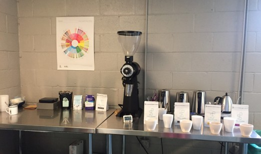 Set up to cup four different coffees.